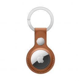 AirTag Leather Key Ring - Saddle Brown