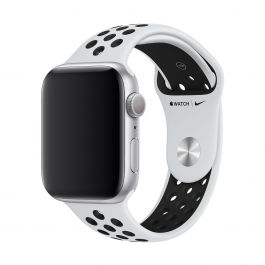 Apple Watch 44mm Nike remienok: Pure Platinum/Black Nike Sport Band - S/M & M/L