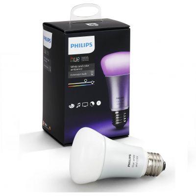 Biela a farebná doplnková žiarovka Philips Hue Ambiance pre náladové osvetlenie E27