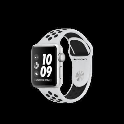 Apple Watch Series 3 Nike+ 38 mm - puzdro so strieborného hliníku s platinovo/čiernym športovým náramkom Nike