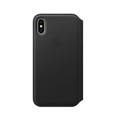Apple kožený obal Folio na iPhone X - čierny