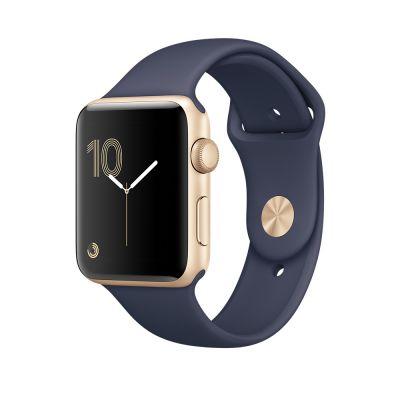 Apple Watch Series 2 - 42mm puzdro zo zlatého hliníka - polnočne modrý športový remienok
