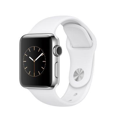 Apple Watch Series 2 - 38mm puzdro z nerezovej ocele - biely športový remienok
