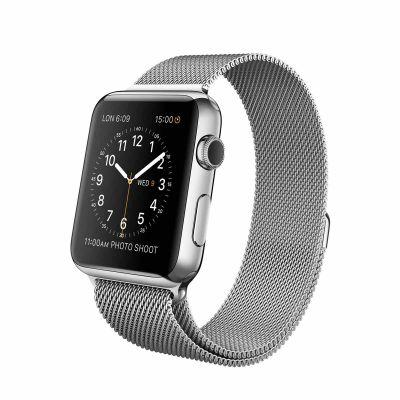Apple Watch - 42mm puzdro z nerezovej ocele s milánskym remienkom (servisované, záruka 12 mesiacov)